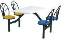 玻璃钢4人位铁靠背餐桌
