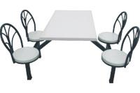 玻璃钢4人位铁靠背餐桌椅